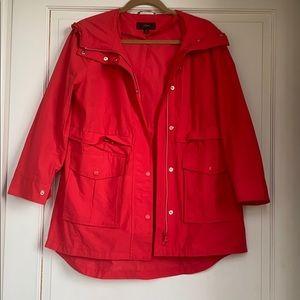 Red Hooded Rain Jacket